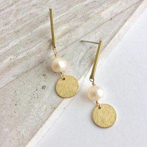 Pearl & Coin — Brass Line— Post Earrings